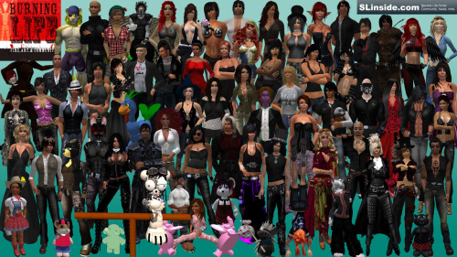 A collage of avatars that belong to the community of SLinside.com  SLinside at Burning Life (Oct 17. - 25. 2009)