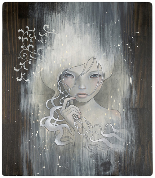 She Who Dares by Audrey Kawasaki The themes in Audrey Kawasaki's work are contradictions within themselves. Her work is both innocent and erotic. Each subject is attractive yet disturbing. Audrey's precise technical style is at once influenced by both manga comics and Art Nouveau. Her sharp graphic imagery is combined with the natural grain of the wood panels she paints on, bringing an unexpected warmth to enigmatic subject matter. (From her website, click on the picture to visit.) An outstanding artist… I am really amazed at the quality and originality of her work. Someday, I will meet her.