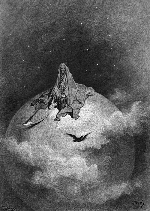 liquidnight:  Gustave Doré - Illustration from an  edition of The Raven by Edgar Allan Poe [This was the last book illustrated by Gustave Doré] (via:nevver:Quote the raven)