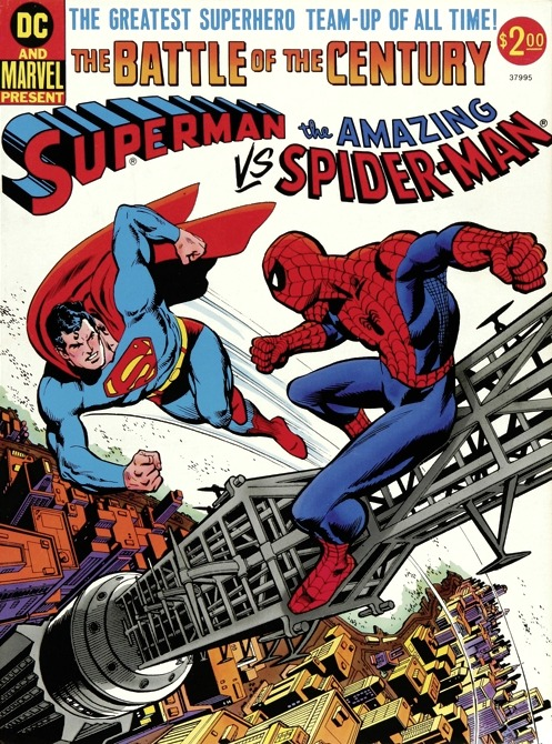 "Superman vs. The Amazing Spider-Man by Gerry Conway, Ross Andru and Dick Giordano, with Neal Adams and John Romita! ""This is it! The Battle of the Century!"" Tumblr —tonight your Dashboard will light up!"