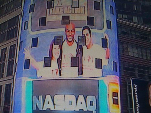Ringing the opening bell at NASDAQ (this is my picture on the big screen in Timed Square!) - Stand Up and Take Action event in times Square calling on people to end poverty!