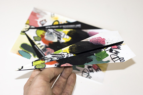 Invitations to Paperplanes, which opens 6pm Friday the 27th of November at Nine Lives gallery. Each Invitation instructs the recipient to fold a paperplane, although it's not uncommon for Simon to try something different.