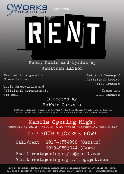"""Forget regret, or life is yours to miss."" Rent in Manila this 2010! Let's watch. ;) blanche1222:  Musical freaks, tara lets!"