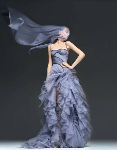 Georgina Stojiljkovic, Versace grayish blue, ruffles, veil, compromised oxygen flow because we all have our weaknesses: points of interest