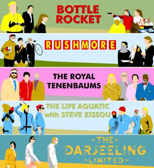 Wes Anderson Quintet: Bottle Rocket, Rushmore, The Royal Tenenbaums, The Life Aquatic with Steve Zissou, and The Darjeeling Limited violaviolet:wesanderson:sunthinkcute:likeneelyohara:flickflickflicker:(via maybeandroid)