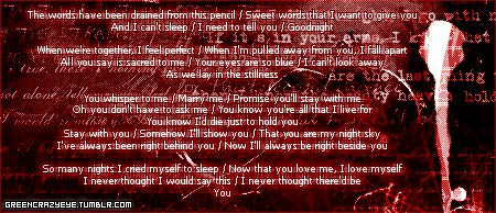"(Evanescence - You) I did this graphic (or whatever you call it) about 3 years ago to use as forum signature. (just edited it now to put my tumblr link on it) I never really use it as signature… anyway, I still love this song! One of the most beautiful song from Evanescence: ""You"""