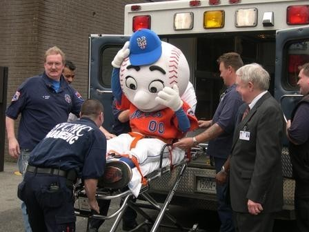 "thegreg:  Already considered by many to be unstable, Mr. Met was driven over the edge at the thought of a Yankees/Phillies World Series. Met, 47, of Queens has famously been the symbol of the New York Mets franchise through thick and (mostly) thin. Reports state that Met was found this morning by his wife, lying unconscious next to a giant baseball bat. The injury is apparently self-inflicted. Friends say that his mental health has decreased significantly over the last three years. ""To be honest, we've all been expecting this. He was always very negative, but he's taken a real nose dive lately,"" The San Diego Chicken stated in a press release. Met's longtime colleague and rival The Phillie Phanatic was less kind. ""He's a self loathing loser. Fuck him. WHERE'S MY CHAMPAGNE!?"" After being revived, a groggy and disoriented Mr. Met was loaded into an ambulance and could be heard saying ""It's just not fair… It's just not fair…"" (: HANG IN THERE METS FANS :)  GO YANKEES!"