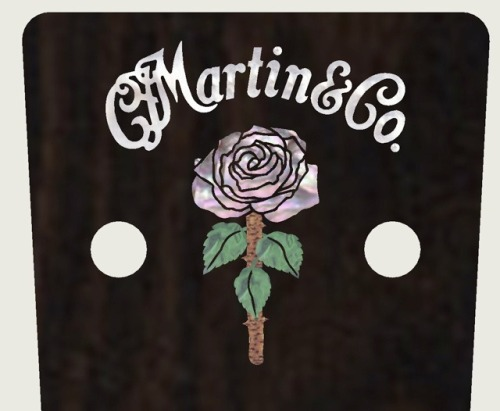 "This is the headstock on my Martin guitar.  Martin made a Rosanne Cash  model last year and it is just gorgeous. I am extremely proud of it. You can see more of it on the cover of my new record ""The List"", or at this  link.  Some guitar gods I know were seriously alarmed that the color green  appeared on a Martin headstock, an event that had never before occurred in  Martin history. I am the second generation in my family that has had a Martin signature  guitar, and I suspect I will not the last generation to receive that honor."