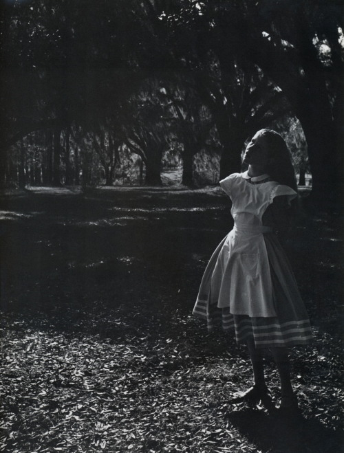liquidnight:  Toni Frissell - Toni Frissell's Daughter Sidney as Alice in Wonderland, Medway Plantation, South Carolina, 1947 From Toni Frissell: Photographs 1933-1967