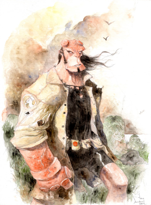 Hellboy water-colored by Tony Sandoval