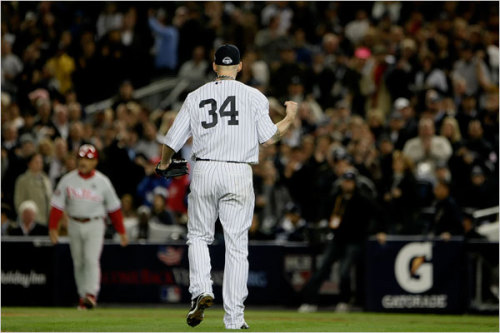 (Photo of Yankees starting pitcher A.J. Burnett from last night 3-1 victory over the Phillies in Game Two of the World Series by Barton Silverman / the New York Times)