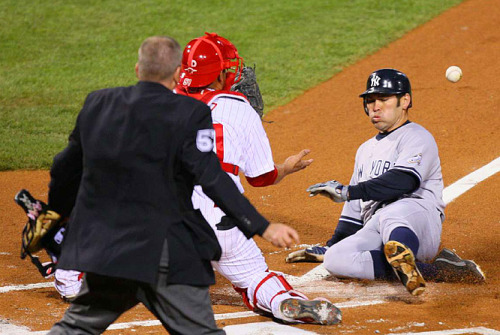 Johnny Damon, touching home plate, like you're supposed to.  (Photo: Damian Strohmeyer / Sports Illustrated)