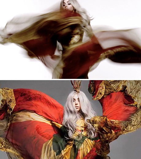 Lady Gaga - Vanity Fair by Nick Knight, September 2010 This photoshoot is breathtaking! I especially like how young Lady Gaga looks in these shots. The ethereal movement in the shots, the collaboration of Knight & Gaga's eccentric beauty merges so perfectly. I am in awe.