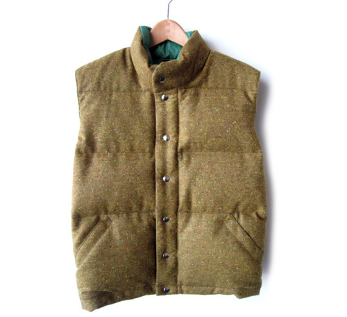 A tweed down vest. A simple vest and a heavy shirt or shirt jacket is a wonderful way to keep warm into the winter.  (We cannot in good conscience advocate the vest-over-sportcoat look, but at the same time, we're not going to fight you on it, because it has its charm.) This vest and more in a roundup at Inventory