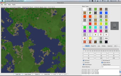 Still working on 0.6.0. I've improved the map generators to be a bit more like Notch's (flat areas and cliffs rather than the stair like hills I had before). Also, trees! I'm not too happy with the block button layout but interface improvements will be in a later version.