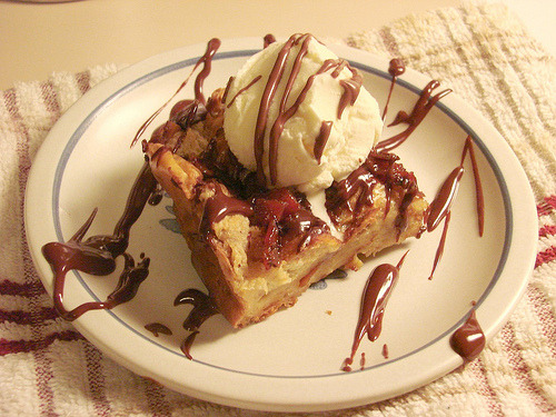 Bourbon and Bacon Chocolate Chunk Bread Pudding with Chocolate Ganache Recipe from blondieandbrownie via vneckandacardigan