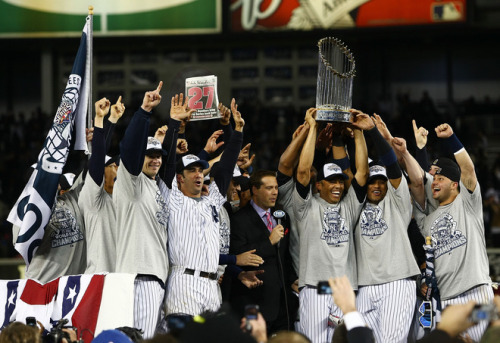 (via thenewyorksportsscene) The New York Yankees won their 27th World Chamionship last night in Game 6 against the Philadelphia Phillies. Hideki Matsui tied a World Series record with 6 RBI's in the game, and won the Series MVP, becoming the first Japanese-born player to win the award. Matsui hit a 2-run homer, a 2-run single, and a 2-run double in last nights game, and was responsible for 6 of the Yankees 7 runs.