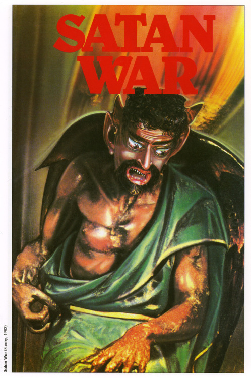 Video box art from the film Satan War (1983) from the book Shock! Horror! Astounding Artwork from the Video Nasty Era, by Francis Brewster, Harvey Fenton and Marc Norris, FAB Press, England, U.K., 2005.