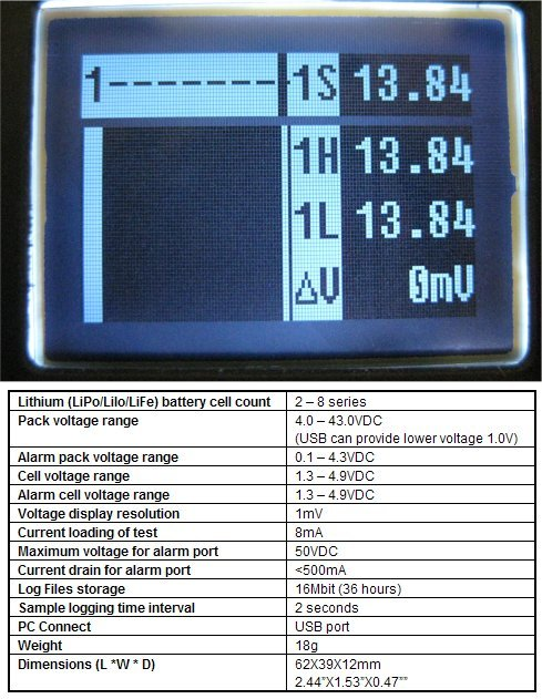 Battery Monitor and Recorder Technical Specification Please see the technical specification of the CellLog monitor. ONLY EUR 27.00 !!! Please contact us for express delivery in Europe.