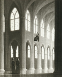 "childrensbooks:  liquidnight:  Chris Van Allsburg - The Seven Chairs - ""The fifth one ended up in France."" From The Mysteries of Harris Burdick"