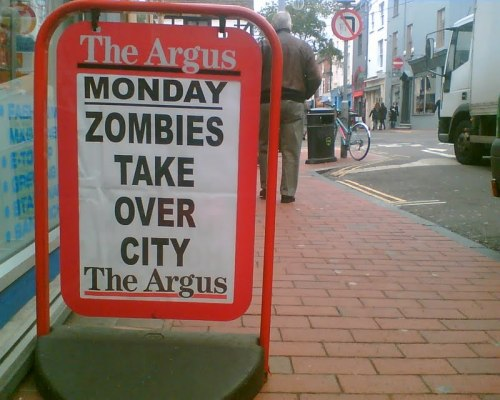 Zombies Take Over City. Move along now, nothing to see here.via thedailywhat:[photo via.]