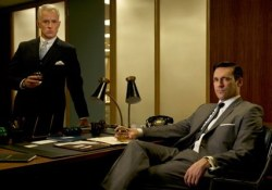 HERE BE SHITLOADS OF SPOILERS  I seriously fucking love Mad Men.  I've just finished watching series three and have realised that it has only been in this series that I really started to care about Don Draper.  I loved it in series one and two of course, but that was mainly because I loved the office politics and was a little bit gay for Joan Holloway.  Now that Don's wife has actually left him (for a slimy little toad, more's the indignity), those poor-little-country-boy flashbacks rip my heart in two.  It's not exactly like he's an angel or anything; he just needs to be loved.  And it is good to see Joan and her hips back in the action too.