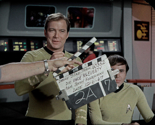 Kirk, Patterns of Bloopers 12.6.67 (via birdofthegalaxy) The 7th (!) take of a bridge scene from the TOS episode Patterns of Force. Walter Koenig trying to not smile, Shatner clearly headed for an 8th take.
