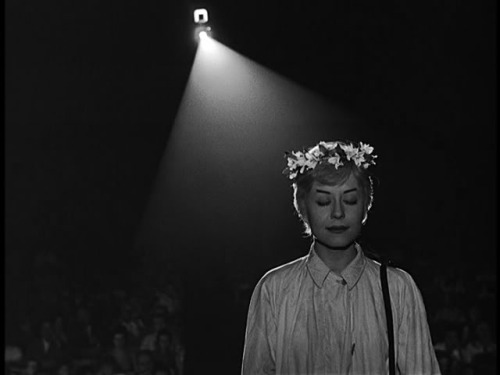 Giulietta Masina in Nights of Cabiria (1957, dir. Federico Fellini) The subject of loneliness and the observation of the isolated person has always interested me. Even as a child, I couldn't help but notice those who didn't fit in for one reason or another—myself included. In life, and for my films, I have always been interested in the out-of-step. Curiously, it's usually those who are either too smart or those who are too stupid who are left out. The difference is, the smart ones often isolate themselves, while the less intelligent ones are usually isolated by the others. In Nights of Cabiria, I explore the pride of one of those who has been excluded. -Federico Fellini