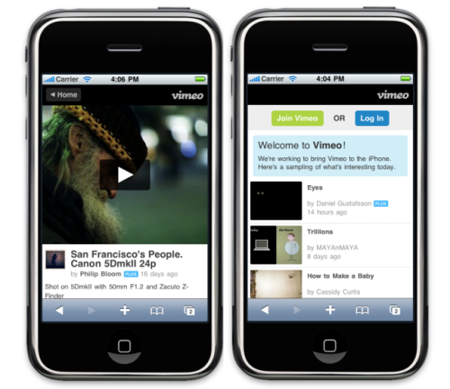 "vimeobuzz:  Vimeo's videos get iPhone, Android-friendly - CNET News ""Video host Vimeo on Wednesday is launching support for users oniPhone/iPod Touch and Google Android devices. The company has re-encoded the entirety of its staff picks and HD video showcase, both of which are the most heavily trafficked areas of the site from Vimeo's members, and referrers like Twitter."""