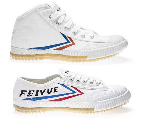 "Feiyue shoes are the people's sneaker of China.  They were originally designed for use in martial arts, particularly Wushu, the swirling exhibition sport whose biggest star is Jet Li.  They're made out of cardboard and bailing twine (I'm guessing, based on their price) and they have super grippy soles. Some sweet things about these sneakers, a pair of which I bought and wore extensively this summer: When you wear them you feel like you can do awesome kicks. They are pretty cool looking. They feel great without socks. They cost $14.99. According to Valet, someone's bought the US rights to the brand and is releasing them in various styles with ""Warrior,"" which apparently is the English translation of Feiyu, on the side.  From the pictures, I only like the one which you can get for $14.99 from the martial arts store, anyway."