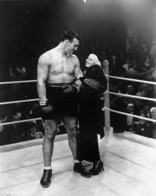"Jean Harlow and Italian boxer Primo Carnera (via corbis). To answer your question, 6'6"":5'2"""