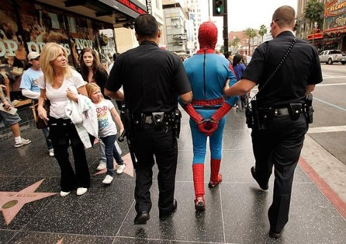jonahray:  Spiderman getting arrested.  I would have loved to have seen this happen.