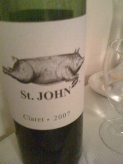 The St. John Bordeaux. Rich, complex and easy to drink. Compliments the food perfectly.