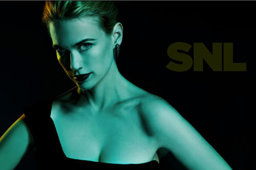 January Jones, Saturday Night Live bumper, green, black Is there something off about her right eye? Or is that just the lighting? // fuckyeahjanuaryjones:annahinks