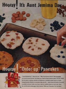 "sarahspy:  Hot dog pancakes— a vintage Aunt Jemima ad's suggestion for ""ordering up"" breakfast. (via)"
