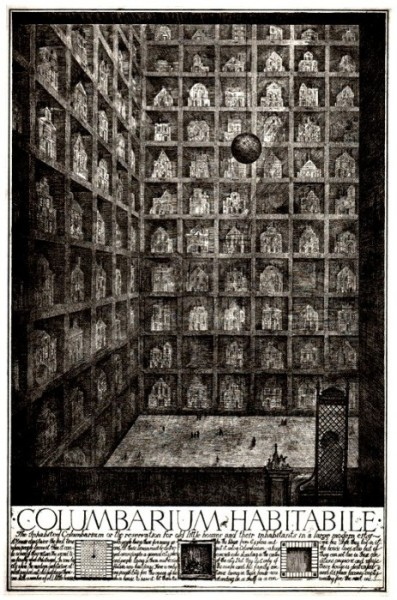 Columbarium Habitabile | Brodsky + Utkin's | Paper Architects | via @parq + @ethel_baraona Columbarium Habitabile proposed a vast concrete mausoleum to which houses set for demolition could be removed and stacked on shelves like so many objects in a cabinet of curiosity.