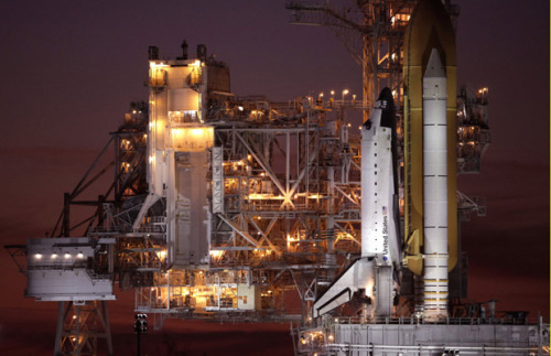 NASA readies space shuttle Atlantis for launch: The space shuttle Atlantis sits on launch pad 39A at sunset as workers prepare the craft for launch at the Kennedy Space Center in Cape Canaveral, Florida November 15, 2009. Photo: Pierre Ducharme, Reuters.