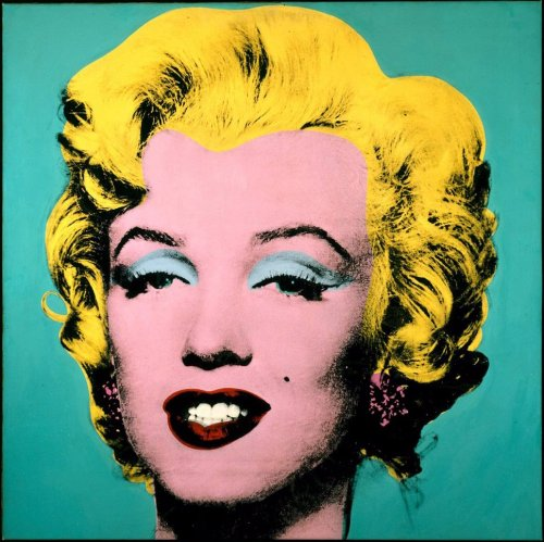 Turquoise Marilyn, 1964 by Andy Warhol. Because POP ART is Andy Warhol and ANDY WARHOL is pop art. And oh, Marilyn Monroe? Fuck yeah, pop art.