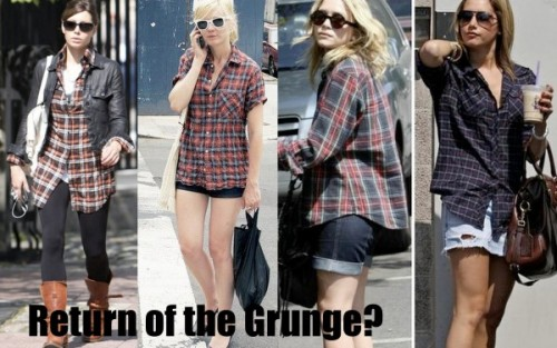 "pepang:  Would You Wear… Oversized Flannel Button-Downs? Trends from the 80's have been making their way into our wardrobes for the past few seasons, but today's trend is pure 90's grunge. Plaid itself is a huge fall trend and the oversized flannel button-down is the hottest way to wear it. Fashionistas have been borrowing from their boyfriends' closets for a while now, and this trend is another example of the ""boyfriend"" phenomenon. Celebs like Mary-Kate Olsen, Kirsten Dunst, Jessica Biel and Ashley Tisdale love their plaid button-downs, as they are laid back pieces that can still look effortlessly chic. So does this mean that the oversize flannel is only for girls who can work the chic messy look? I'm not sure. I was talking to my friend about who can and cannot pull off the flannel trend (I'm convinced I can't) and she said something that stuck with me: it all depends on how you wear it. I was so absorbed with the distressed denim and messy hair that I failed to take into account how put-together Jessica Biel is, in her tunic version with a polished leather jacket and leggings. (College Fashion)"