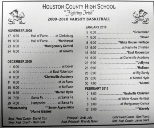 HCHS 2009-2010 Varsity Basketball Schedule