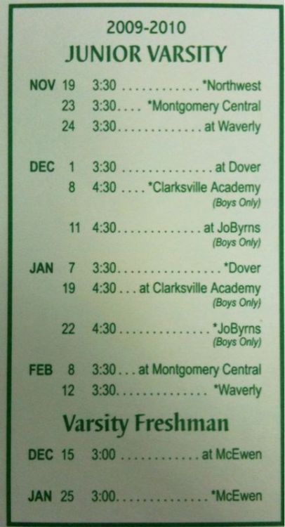 HCHS 2009-2010 Junior Varsity Basketball Schedule