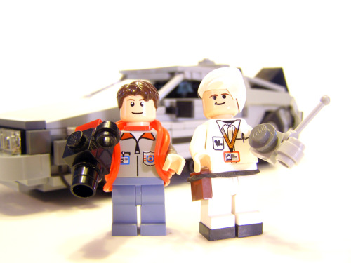 xoodus:  Seriously, Lego needs to make these. A load of Back To The Future Lego sets would sell like crazy. This was made by Legohaulic on Brickshelf. It was the minifigs that stood out for me. So much attention to detail. Marty's bodywarmer is a rubber band and Doc has little plates on his feet for boots. Brilliant.
