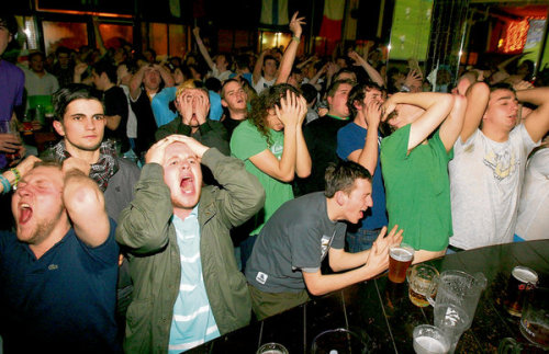tursucuhursit:  Irish Soccer fans are dismayed at the Lounge Bar off Dublin's O'Connell Street as the French score a goal despite a hand ball incident, putting Ireland out of the the World Cup.