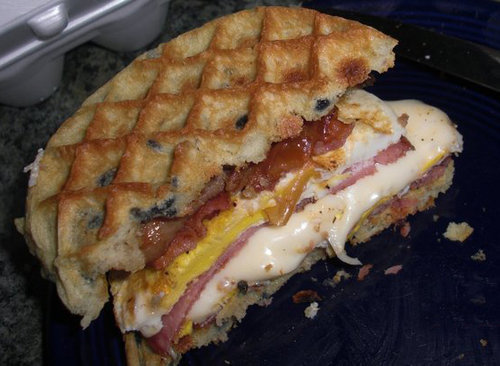 Egg, Ham, Bacon, Sausage & Blueberry-Waffle Sandwich With Hollandaise sause. HEAVEN via mondojergens