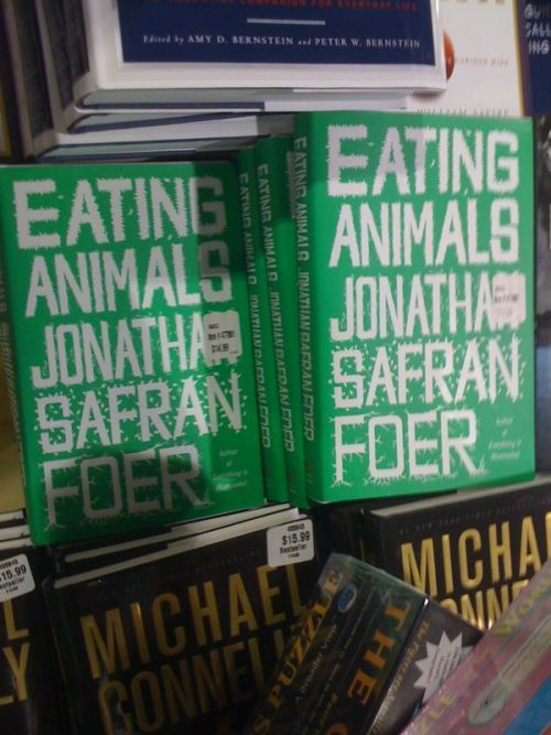 "Eating Animals is on sale at Costco (!?) for $14.99. Holiday gifts, people! Your family in West Virginia is gonna love you!  And while you're there, pick up cheap beer (Sierra Nevada Holiday Ale) & 2-for-1 Sabras ""I AM THE BEST HUMMUS AVAILABLE COMMERCIALLY IN THE UNITED STATES"" Hummus!  America, fuck yeah!"
