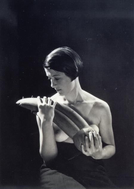 zname:  houseofincest:  the-big-lie:  holdthisphoto:  i12bent:  Man Ray: Femme tenant l'Objet désagréable, 1937 The 'disagreable object' is a sculpture by Giacometti…