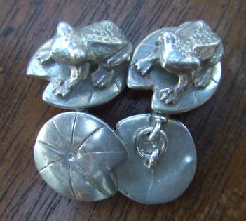 It's On Ebay Silver Frog Cufflinks by Mappin & Webb.  LOVE them. Currently about $6, ends early tomorrow morning.