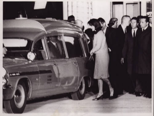 "kennedys:  Leaving Parkland Hospital after the death of the President, Attorney General and brother-in-law Robert F. Kennedy right behind her. Several times Jackie was offered a washcloth and a change of clothes, but she said, ""No. Let them see what they've done to Jack."""