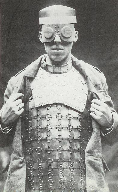 missspite:  vintagephoto: British body armor . 1917  .  ProtoRoboCop* * I wanted to say this word for at least 2 decades, I just realised. o_O