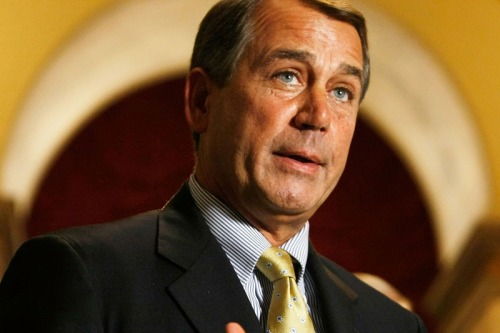 "House Minority Leader John Boehner from Ohio's 8th District is your girlfriend's disappointed father.   He is very upset with the situation, upset with himself and with you and with his daughter.  He just can't believe it.  But he has to sit and be polite and eat Thanksgiving dinner next to you, even though he would rather take you out into the back yard and ""accidentally"" shoot you.  And when he comes back in, his wife says, ""Oh, John, you didn't shoot another one of her boyfriends, did you?"" and then the whole family giggles because everyone knows daddy loves his guns and is filled with hate. Boehner probably sobs gently while screwing because he can't figure out what to do with ALL THESE FEELINGS!   And I am so not into cryers."